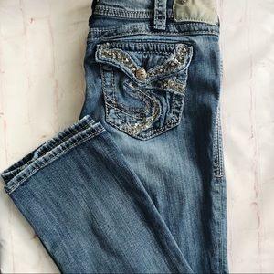 "[Silver] Suki flap 17"" jeans size 30 sparkle"